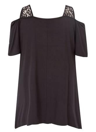 Μαύρη Έξωμη Μπλούζα με Τύπωμα 50735-5 Maniags