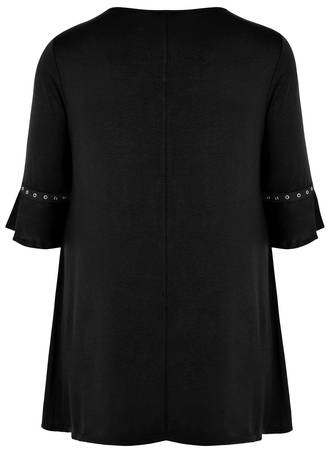 Μπλούζα Μαύρη με Μανίκι Καμπάνα 50755-6 Maniags