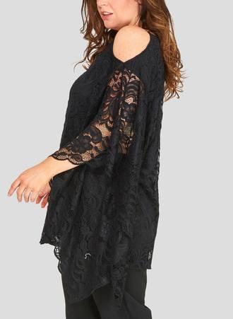 Αμπιγιέ Δαντελένια Μπλούζα με Χαλαρό Μανίκι 50790_2 Maniags