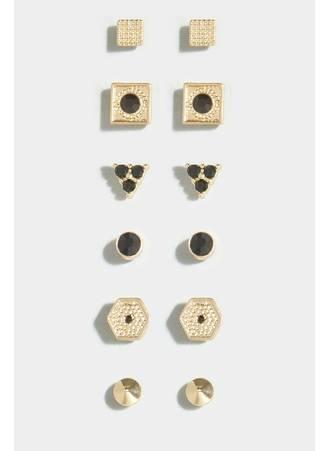 Σκουλαρίκια Χρυσό-Μαύρο 6 Τεμάχια Maniags
