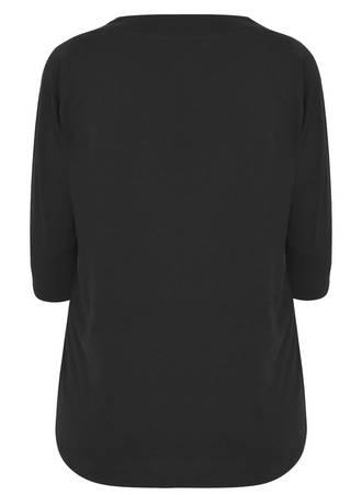 Μπλούζα Μαύρη Basic Black_Band_Scoop_Neckline_T-Shirt_With_34_Sleeves_132301_0107_caf4-yr Maniags