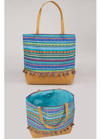 Τσάντα Θαλάσσης Μπλε Πολύχρωμη Blue_Multi_Stripe_Pom_Pom_Beach_Bag_With_Straw_Handles_Panel_152248_c728 Maniags