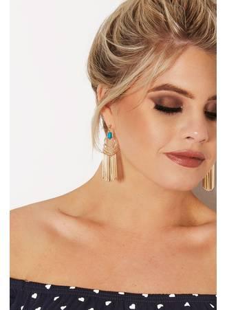 Σκουλαρίκια κρεμαστά με Τυρκουάζ Πέτρα Gold_Blue_Stone_Drop_Tassel_Earrings_152085_fce7 Maniags