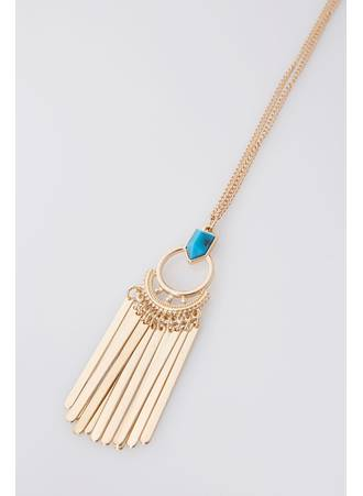 Κολιέ Χρυσό με Τυρκουάζ Πέτρα Gold_Blue_Stone_Pendant_and_Drop_Tassel_Long_Necklace_152087_f0fd Maniags