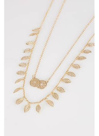 Κολιέ Χρυσό Διπλό Gold_Double_Layer_Leaf_Circle_Pendant_Long_Necklace_152098_dbb0 Maniags
