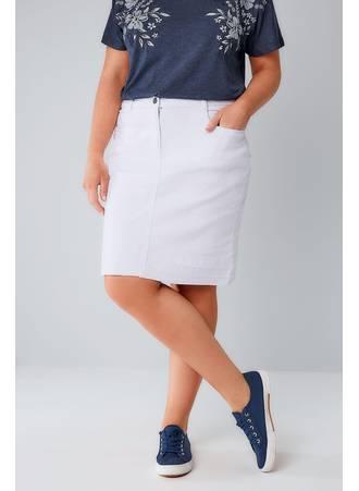Φούστα Denim Midi Λευκή White_5_Pocket_Denim_Skirt_With_Raw_Hem_160006_5247 Maniags