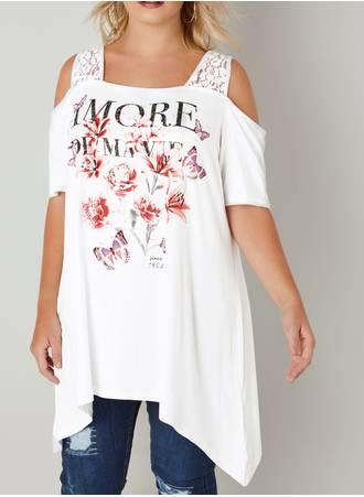 Λευκή Έξωμη Μπλούζα με Τύπωμα Φλοράλ Maniags