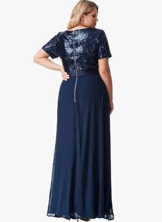 Φόρεμα Μάξι Navy με Παγιέτα 0022 Maniags