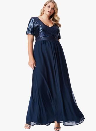 Φόρεμα Μάξι Navy με Παγιέτα Maniags