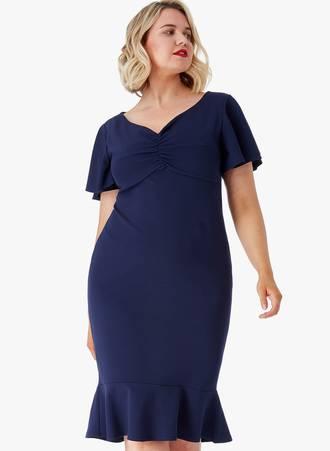 Φόρεμα Midi Navy Maniags