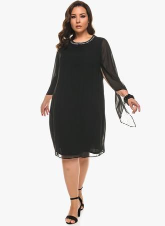 Φόρεμα Μαύρο με Στρας και Ιδιαίτερο Μανίκι Maniags