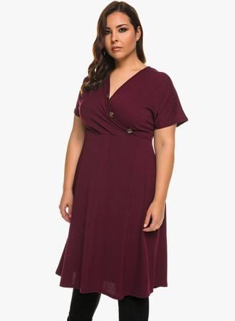 Φόρεμα Ribbed Μπορντό 0900 Maniags