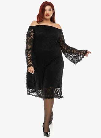 Φόρεμα Μαύρο Έξωμο Δαντέλα Maniags