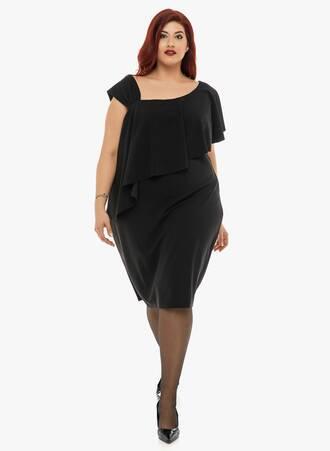 Φόρεμα Μαύρο με Βολάν Maniags