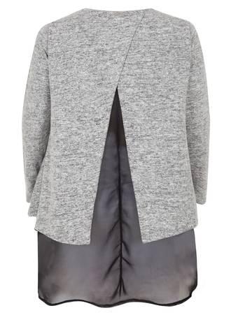 Μπλούζα Πλεκτή Γκρι με Τελείωμα Μουσελίνας 50859_5_pe86-95 Maniags