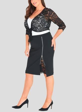 Φούστα Midi  με Φερμουάρ και Δαντέλα 50924-3 Maniags