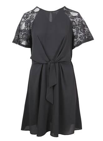 Μαύρο Μίντι Φόρεμα με V λαιμόκοψη Maniags