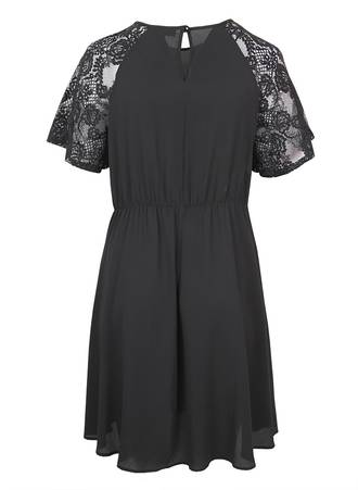 Μαύρο Μίντι Φόρεμα με V λαιμόκοψη d5117-black-lace_e1 Maniags