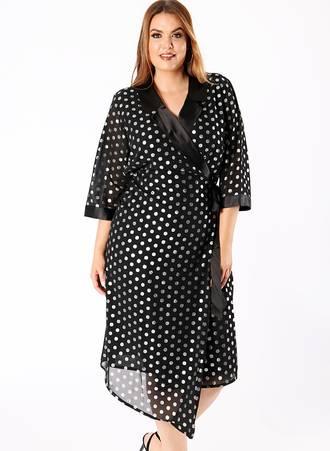 Μαύρο Φόρεμα με Ασημί Πουά Maniags