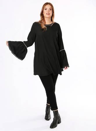 Μπλούζα Μαύρη με Μανίκι Καμπάνα και Διακοσμητικές Πέρλες maya2408201818027 Maniags