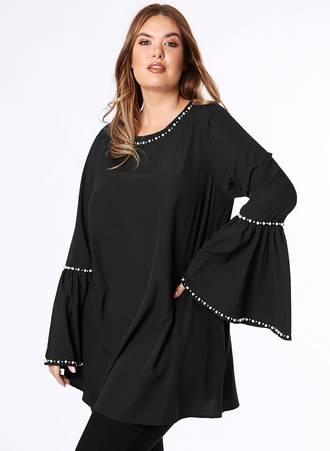Μπλούζα Μαύρη με Μανίκι Καμπάνα και Διακοσμητικές Πέρλες Maniags