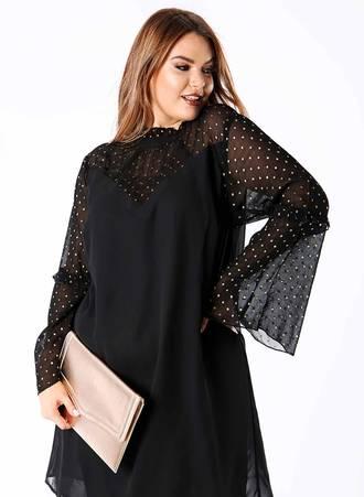 Φόρεμα Μαύρο με Χρυσό Πουά στα Μανίκια pl4-10-11_2 Maniags