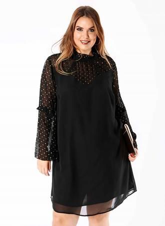 Φόρεμα Μαύρο με Χρυσό Πουά στα Μανίκια Maniags