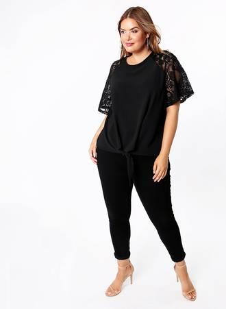 Μαύρη Μπλούζα με Δαντέλα στο Μανίκι t5062-black-plain_1 Maniags