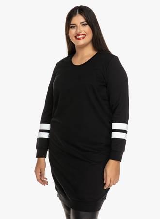 Μπλουζοφόρεμα Μαύρο με Λευκές Λεπτομέρειες Maniags
