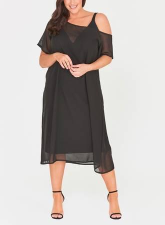 Φόρεμα Μαύρο Σιφόν με Χαλαρό Ώμο Maniags