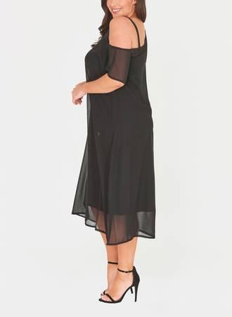 Φόρεμα Μαύρο Σιφόν με Χαλαρό Ώμο 51011_3 Maniags