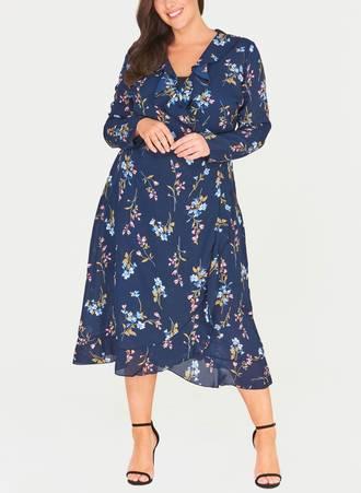 Κρουαζέ Φόρεμα Navy Φλοραλ Maniags