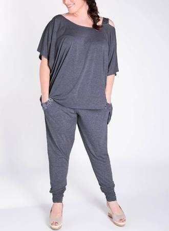 Παντελόνα Harem με Παγιέτα Σκούρο Γκρι 51060_5 Maniags