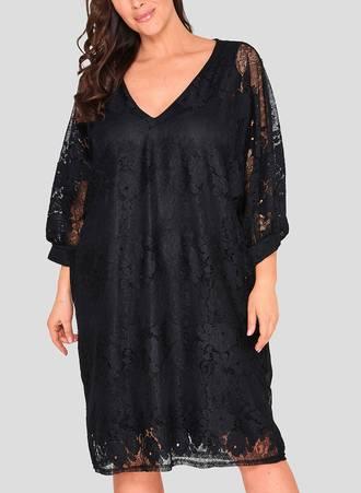 Φόρεμα Μαύρο Δαντέλα Maniags