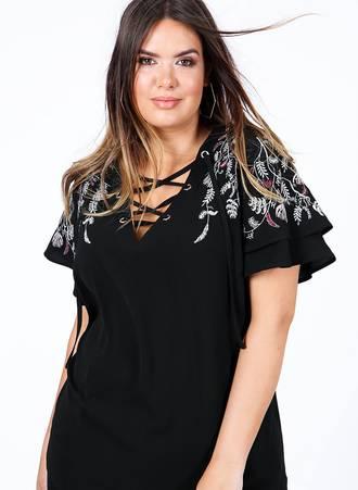 Μπλούζα Μαύρη με Κέντημα στο Μανίκι Maniags