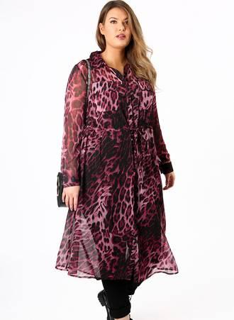 Πουκάμισο Μακρύ Διαφανές Ροζ Leopard Maniags
