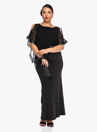 Φόρεμα Μάξι Μαύρο με Λεπτομέρεια Παγέτας 2019_06_12-Maniags8708 Maniags