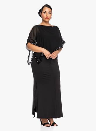 Φόρεμα Μάξι Μαύρο με Λεπτομέρεια Παγέτας Maniags