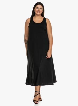 Φόρεμα Μάξι Μαύρο Βαμβακερό Maniags