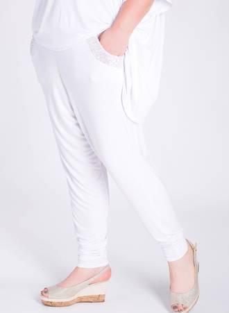 Παντελόνα Harem με Παγιέτα Λευκό Maniags