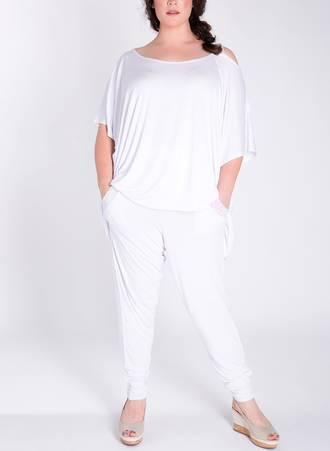 Παντελόνα Harem με Παγιέτα Λευκό 51249_4 Maniags