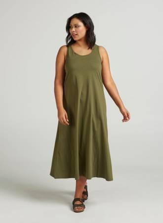 Φόρεμα Μάξι Χακί Βαμβακερό Maniags