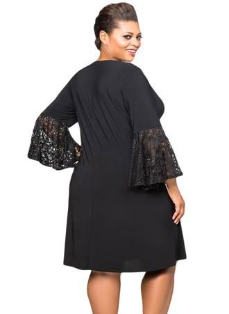 Φόρεμα Μαύρο με Δαντελωτά Μανίκια Καμπάνα Black-Sequin-Lace-Bell-Sleeve-Plus-Size-Mini-Dress-LC610475-2-2 Maniags