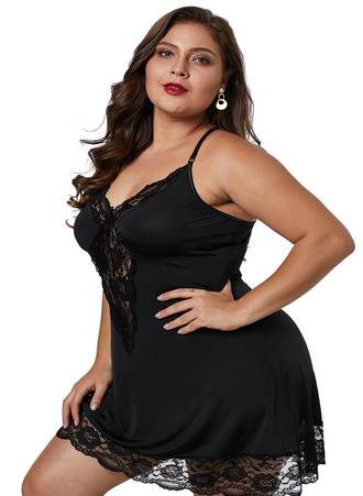 Μαύρο Babydoll με Δαντέλα Black-Venecia-Chemise-with-Lace-Trim-LC31145-2-3 Maniags