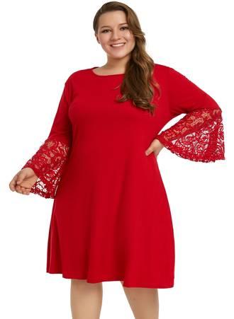 Φόρεμα Κόκκινο με Δαντελωτά Μανίκια Καμπάνα Maniags