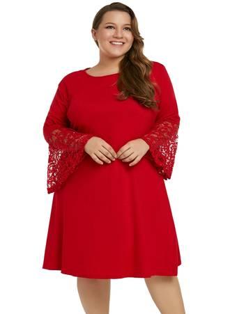 Φόρεμα Κόκκινο με Δαντελωτά Μανίκια Καμπάνα Red-Sequin-Lace-Bell-Sleeve-Plus-Size-Mini-Dress-LC610475-3-6 Maniags