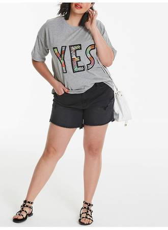 T-shirt Γκρι με Κεντημένο Τύπωμα 'YES' TP7179-GREYMARL-04 Maniags