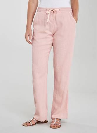 Λινή Παντελόνι Ροζ Maniags
