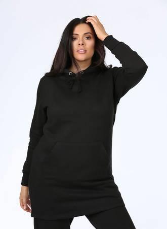 Μπλουζοφόρεμα Φούτερ με Κουκούλα Μαύρο Maniags