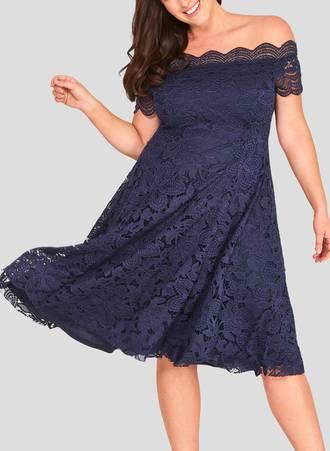 Φόρεμα Δαντέλας Vintage Navy Maniags